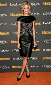 Caitlin Fitzgerald was a stunner at the Entertainment Weekly pre-Emmy party in an embellished black leather dress.