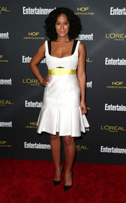 Tracee Ellis Ross looked ultra girly in a white cocktail dress with a yellow sash and a flirty pleated hem during the Entertainment Weekly pre-Emmy party.