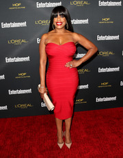 Niecy Nash put her voluptuous figure on display in a strapless red Herve Leger bandage dress during the Entertainment Weekly pre-Emmy party.