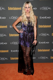 Ashlee Simpson brought some edginess to evening wear with this lace-overlay dress at the Entertainment Weekly pre-Emmy party.