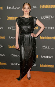 Anna Chlumsky hit the red carpet looking dramatic in a shiny black evening dress with an asymmetrical hem during the Entertainment Weekly pre-Emmy party.