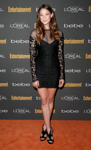 Analeigh Tipton donned a sultry LBD with a pin-dot yoke and lace sleeves for the Entertainment Weekly pre-Emmy party.