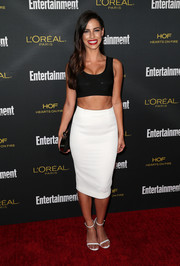 Jessica Lowndes finished off her minimalist-chic look with a pair of white ankle-strap sandals.