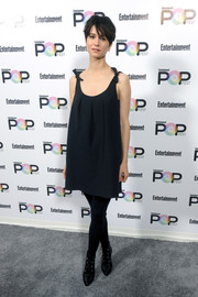 Katherine Waterston chose a pair of black lace-up booties to complete her outfit.