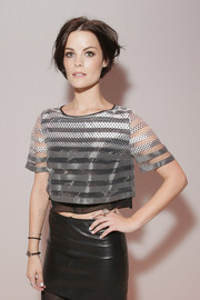 Jaimie Alexander wore a sheer crop top to the Erin Fetherston runway show.
