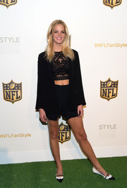 Erin Heatherton teamed a black short suit with a lacy crop-top for the NFL Women's Style Showdown.