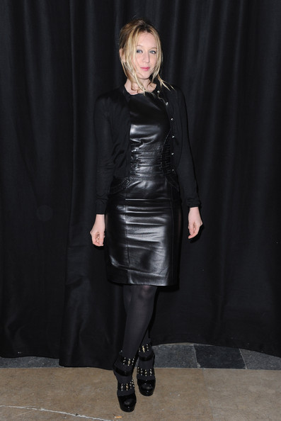 Ludivine Sagnier was right on-trend in this leather sheath dress at the Etam fashion show.