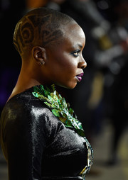 Danai Gurira amped up the edge factor with this patterned buzzcut at the European premiere of 'Black Panther.'