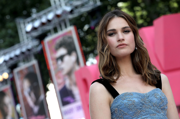 More Pics of Lily James Medium Wavy Cut (1 of 29) - Lily James Lookbook - StyleBistro [baby driver,hair,pink,photograph,lady,beauty,lip,fashion model,model,hairstyle,shoulder,lily james,london,england,sony pictures,european premiere]