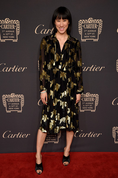 Eva Chen Midi Dress [clothing,red carpet,carpet,dress,fashion,premiere,fashion model,footwear,cocktail dress,flooring,eva chen,cartier fifth avenue grand reopening event,new york city,cartier mansion]