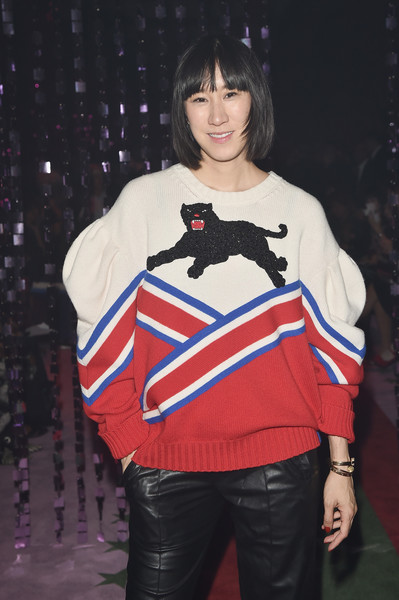 Eva Chen Crewneck Sweater [show,fashion model,product,fashion,shoulder,joint,outerwear,costume,runway,girl,eva chen,front row,milan,italy,gucci,milan fashion week,milan fashion week spring]
