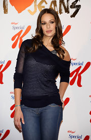 Eva Gonzales was in a pair of jeans and a nice sheer top.