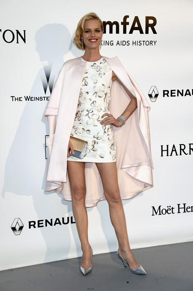 Eva Herzigova Mini Dress [fashion model,clothing,white,fashion,dress,shoulder,cocktail dress,leg,joint,fashion design,arrivals,ewa herzigova,france,cap dantibes,hotel du cap-eden-roc,amfar,cinema against aids gala]