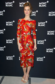 Eva Herzigova wore a tomato print dress for the Montblanc event.