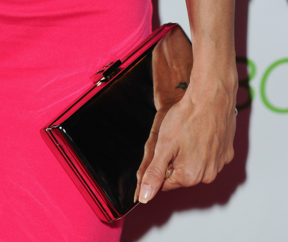Eva Longoria Metallic Clutch