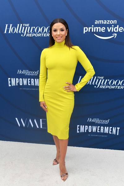 Eva Longoria Strappy Sandals [the hollywood reporter,dress,clothing,yellow,cobalt blue,cocktail dress,blue,fashion model,fashion,shoulder,electric blue,arrivals,eva longoria,hollywood,california,hollywood reporter,milk studios,empowerment in entertainment event]