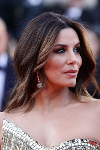 Eva Longoria Long Center Part [rocket man,hair,face,hairstyle,eyebrow,blond,brown hair,beauty,long hair,shoulder,lip,eva longoria,rocketman red carpet,screening,cannes,france,the 72nd annual cannes film festival]