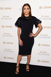 Eva Longoria kept it understated in a David Koma LBD with leather ruffle sleeves at the Chivas The Venture's $1M Fund winner announcement.