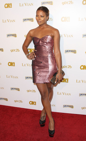 Eva Pigford Strapless Dress [cocktail dress,clothing,dress,shoulder,strapless dress,fashion model,fashion,hairstyle,carpet,joint,event - arrivals,eva pigford,tru hollywood,hollywood,california,magazine,pre-grammy event]