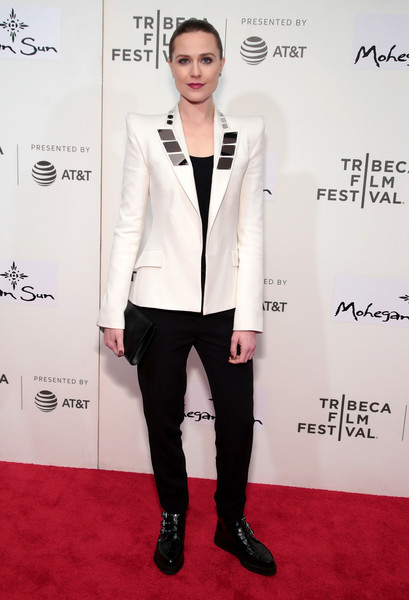 Evan Rachel Wood Motorcycle Boots [westworld,clothing,white,suit,formal wear,carpet,fashion,red carpet,tuxedo,pantsuit,outerwear,evan rachel wood,new york city,bmcc tribeca pac,tribeca film festival,premiere]