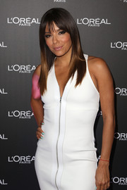 Eva Longoria sported pastel-blue nail polish for a cool pop of color to her LWD.