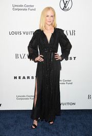Nicole Kidman was boho-glam in an embroidered button-up maxi dress at the Evening Honoring Louis Vuitton event.