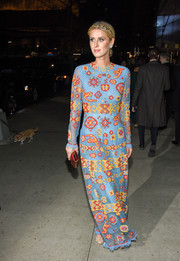 Nicky Hilton looked playfully glam in a colorful geometric-embroidered column dress at the Evening Honoring Valentino Gala.