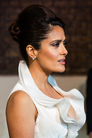 Salma Hayek channeled Marie Antoinette with this teased updo at the Evening Standard Theatre Awards.