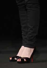 Isabelle Huppert was chic in black Christian Louboutin peep-toes at the Festival del Film di Locarno.