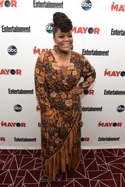 Yvette Nicole Brown chose a floral maxi wrap dress by Farm for the exclusive screening of 'The Mayor.'