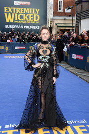 Lily Collins looked playfully glam in a sheer, heart-embroidered gown by Elie Saab at the European premiere of 'Extremely Wicked, Shockingly Evil and Vile.'