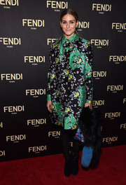Olivia Palermo donned a busy-looking print coat by Diane von Furstenberg for the Fendi New York flagship store opening.