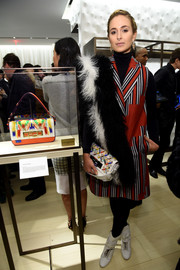Elisabeth von Thurn und Taxis looked mod in a tricolor striped coat during the Fendi New York flagship store opening.