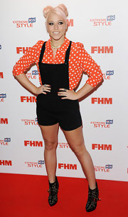 Amelia Lily chose a black overall-style romper for her punk-inspired red carpet look.