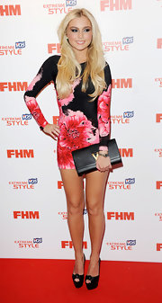 Chloe Cummings chose this long-sleeve, floral dress for her look at the FHM Sexiest Woman Launch party.
