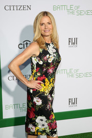 Elisabeth Shue went the ladylike route in a colorful floral dress at the LA premiere of 'Battle of the Sexes.'