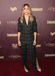 Chloe Bennet chose a grid-print pantsuit with ankle slits for the Entertainment Weekly pre-Emmy party.