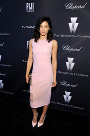 Jenna Dewan-Tatum was sweet and edgy at once in a sleeveless pink sheath with sheer panels on the skirt during the Weinstein Company Oscar nominees dinner.