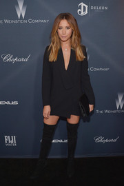 Ashley Tisdale joined the Weinstein Company pre-Oscar dinner wearing a sexy black tux dress.