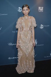 Zendaya Coleman brought a dose of romance to the Weinstein Company pre-Oscar dinner with this heavily embellished gown by Marchesa.