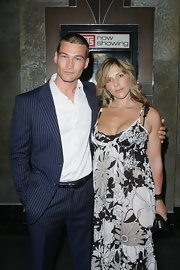 Andy Whitfield looked very smart in his navy pinstripe suit at the premiere of 'Gabriel.'