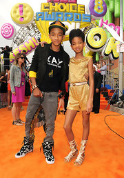 Jaden Smith attended the 2011 Kids' Choice Awards wearing an attention-grabbing pair of black-and-white geometric-print basketball sneakers.