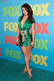 Lea Michele looked va-va-voom at the Fox Programming Presentation in a green Blumarine dress with a down-to-there plunge and an up-to-there hemline.