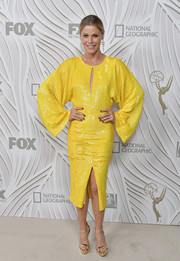 Julie Bowen brightened up the Fox Emmy after-party with this canary-yellow sequin dress by Jeffrey Dodd.