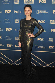 Penelope Cruz shimmered in a bronze sequined column dress by Ralph Lauren at the Fox, FX, and Hulu Golden Globes after-party.