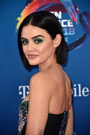 Lucy Hale went for an eye-popping beauty look with a bold application of emerald shadow.