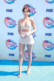 Sarah Hyland went flirty in a pale pink crop-top by Teresa Helbig at the 2019 Teen Choice Awards.