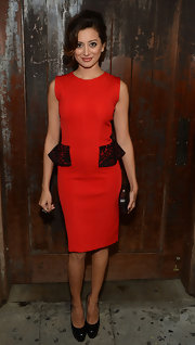Noureen DeWulf pulled off a classy and stylish look  in a red dress with a black lace peplum detail at the FX Summer Comedies Party.