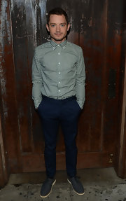 Elijah Wood wore gray oxfords at the FX Summer Comedies Party.