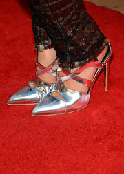 Katie Aselton brightened up the red carpet with her chic strappy silver pumps during the FXX Network launch.